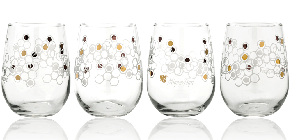 HIVE gold leaf stemless wine glasses