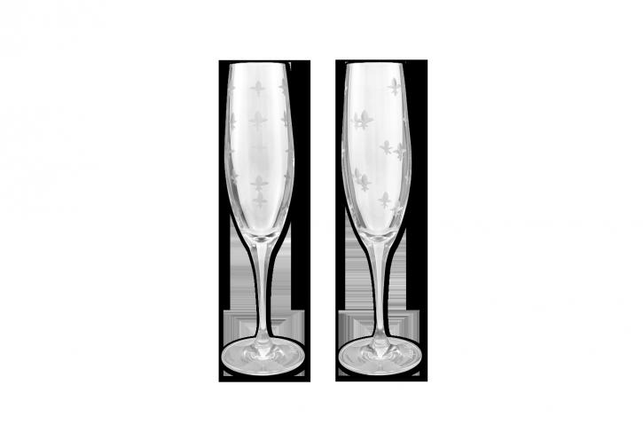 fleur de lis crystal champagne flutes mignon faget new orleans